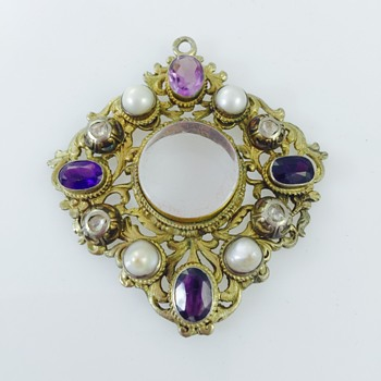 Austro-Hungarian Rose Cut Diamond Amethyst Pearl Ornate Mourning Pendant 800 Silver