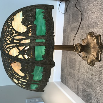 Antique glass and metal table lamp with windmill scene - Lamps