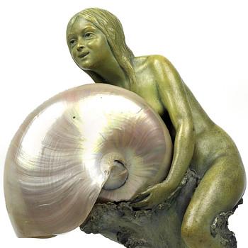 Johann Pilar (Vienna) Sea Maiden w/ Nautilus Shell Shade Lamp - Art Nouveau