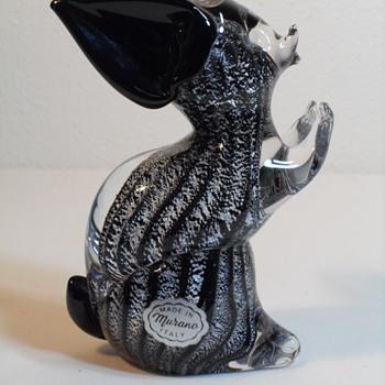 Murano Vetreria Artistica Oball ~ Black & Silver Aventurine Mouse - Art Glass