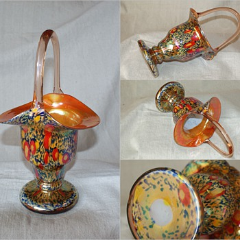 "Kralik Millefiori Basket 10 1/2"" tall - Art Glass"