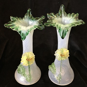 Pair Victorian opalescent art glass vases with applied flowers - Art Glass