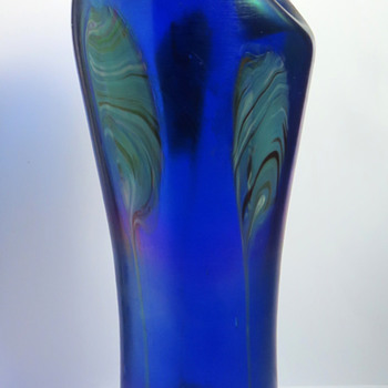 Rindskopf Cobalt Blue Pulled Feather Vase - Art Glass