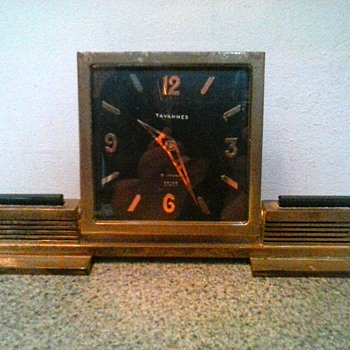 """Tavanness"" Beyer Zurich Brass And Onyx ""Art Deco"" Wind-Up Desk Clock / Circa 1930's - Clocks"