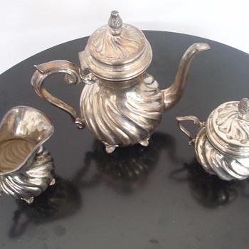 E Zolotas signed Teapot, Sugar & Creamer  - Silver