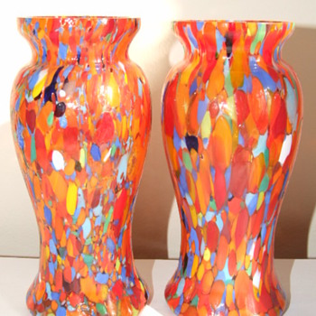 Pair of Ruckl / Welz Spatter Vases - Art Glass