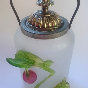 Victorian satin glass lidded jar with applied cherry & leaves - Art Glass