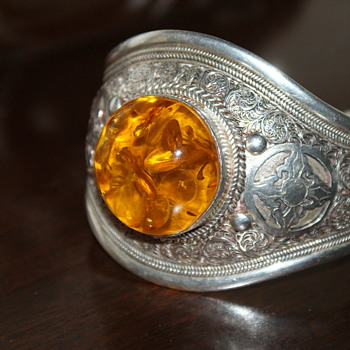 Amber and Sterling Bangle - Fine Jewelry