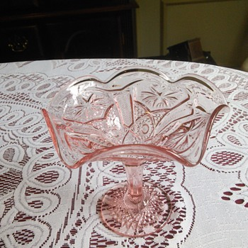 Imperial Glass Star and File Pink Candy Dish