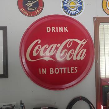 1954 Flanged Coke-A-Cola Button Sign - Coca-Cola