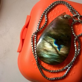Labradorite & Sterling Pendant + Sterling Silver Dragon With Crystal Ball, Thrift Shop Finds - Fine Jewelry