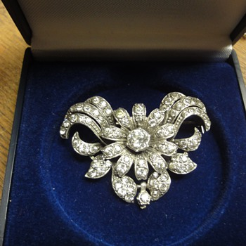 Sterling Silver Flower Bow Paste Brooch - Fine Jewelry