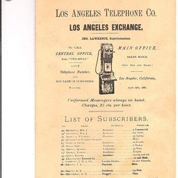 Los Angeles Telephone Directory 1882/1909