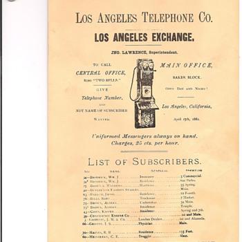 Los Angeles Telephone Directory 1882/1909 - Telephones