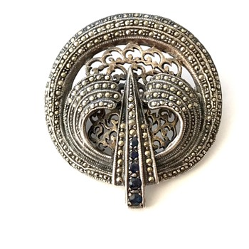Vintage Art Deco sterling marcasite rhinestone brooch  - Costume Jewelry