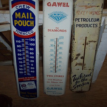 Gawel jewelers tin advertising thermometer