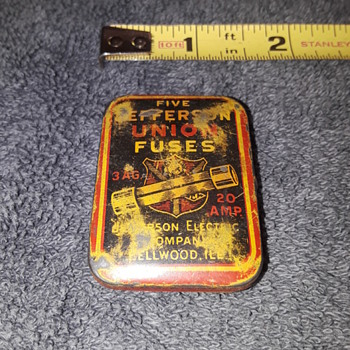 teeny tiny old advertising tins #1, JEFFERSON UNION FUSES - Advertising