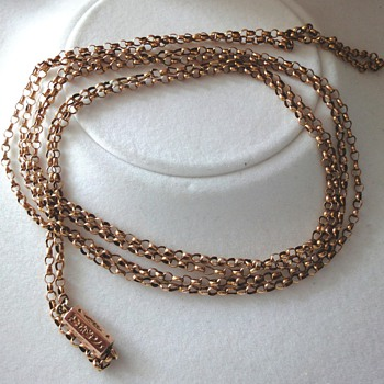 ANTIQUE VICTORIAN 14ct ROSE GOLD MUFF/GUARD CHAIN  - Fine Jewelry