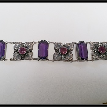 Elsie Reeves Arts and Crafts Bracelet and matching pendant - amethyst glass and enamel - Arts and Crafts