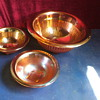 "3 beautiful iridescent marigold smooth ray bowls 1=12"", 2=7"", Imperial?looking for info."
