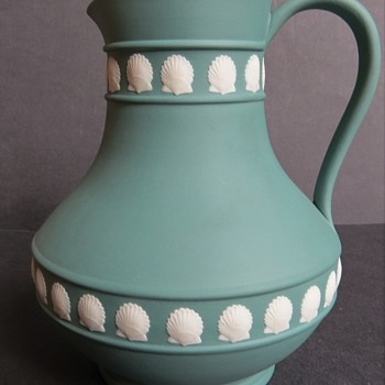 Wedgwood Jasperware Teal Etruscan Shape Jug with Shell Decoration - China and Dinnerware