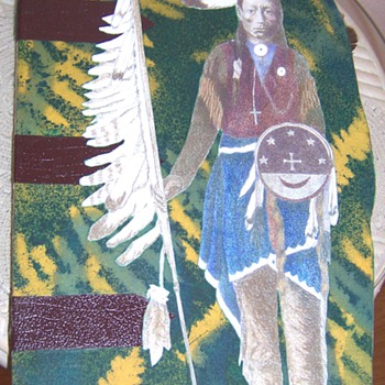 hand made native american paper doll in book - Paper