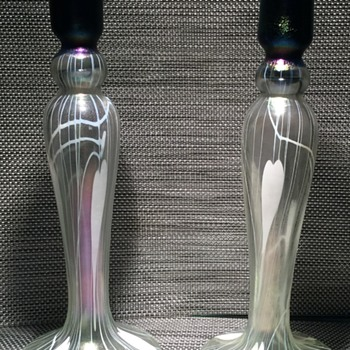Imperial Free Hand Candlesticks with partial label - Art Glass