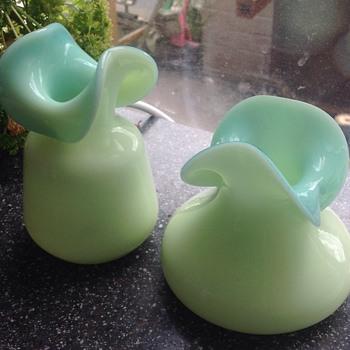 Stourbridge Victorian Uranium Cased Glass Vases - Glassware