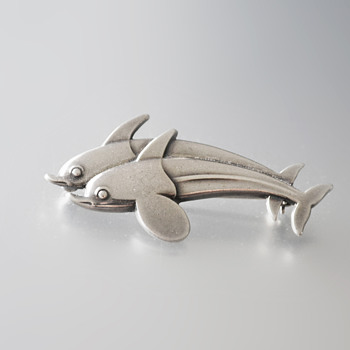 Georg Jensen sterling silver twin dolphin brooch #317 - Fine Jewelry