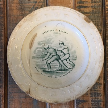 "1860s ABC/Alphabet Plate ""Out At The Third Base"" Early Baseball Item - Baseball"