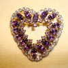 Amethyst and Austrian Crystal Heart in Sterling by Jay Flex ca 1930