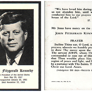 John F. Kennedy Prayer Card