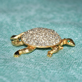Rhinestone Turtle Costume Pin - Costume Jewelry