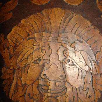 Antique Dutch marquetry table. Details from the inlaids - Furniture