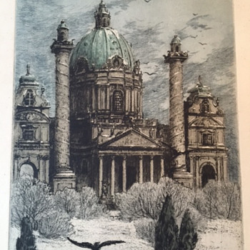 Hand coloured etching