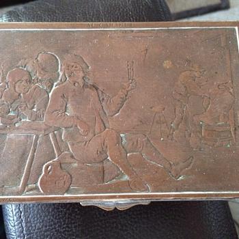 Teniers Tavern Scene silver plated copper box.