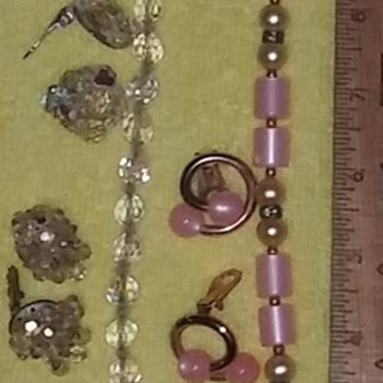 Clear & Pink Necklace & Earring Sets