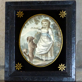 Georgian Silk Embroidered Painting Of Girl And Dog - Fine Art