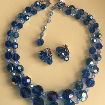 Sherman Blue & Clear Crystal — Necklace, Earring Set - Costume Jewelry