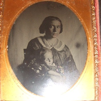 Tragic Post Mortem ambrotype of Mother and Child