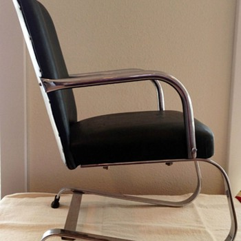 """1930s-1940s  22"""" high 12"""" wide tubular steel and chrome machine age springer chair made by Lloyd Loom Products, Menomimee, MI,"""