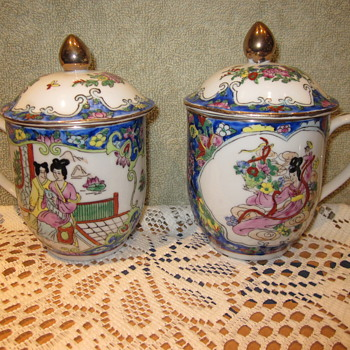 Anique Hand Painted Japanese/ Chinese Coffee Mugs - Asian