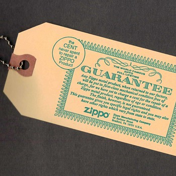 1983 - Zippo Lighter Guarantee Advertising Card - Advertising