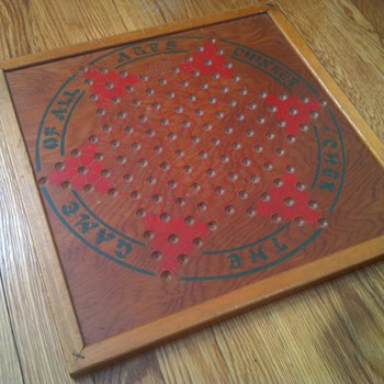 "1930's ""Chinker-Chek"" Wooden Chinese Checkers Board - Games"