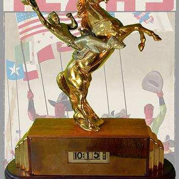 1936 Texas Centennial Trophy Craft Co Clock with Lawson Movement - Art Deco