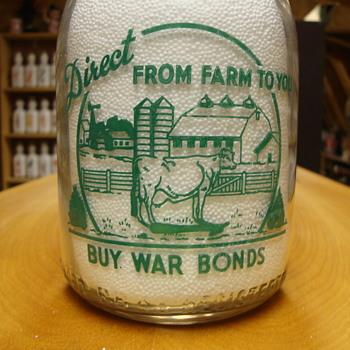 Farm Scene Combined With BUY WAR BONDS Slogan....... - Bottles
