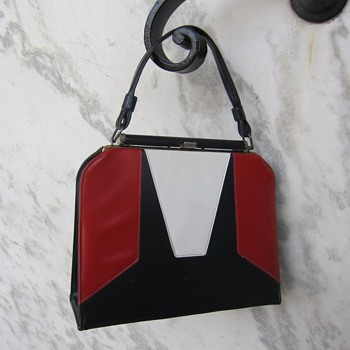 1950's red/white/blue vinyl purse - Bags