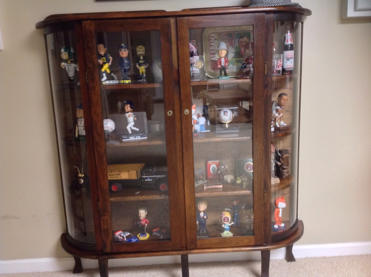 Curved Glass Curio Display Cabinet Collectors Weekly