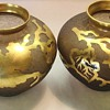 Pair Brown & Gold Acid Etched Vases.