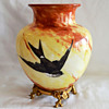 Baccarat Enameled Opaline Vase with Swallows in an Ormolu Stand